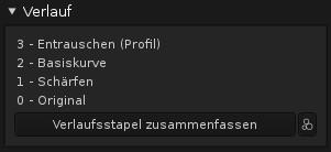 Der Verlaufsstapel in Darktable erlaubt wie in Lightroom keine direkte Manipulation der Einträge.