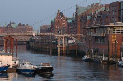 Blick auf die Speicherstadt von Hamburg