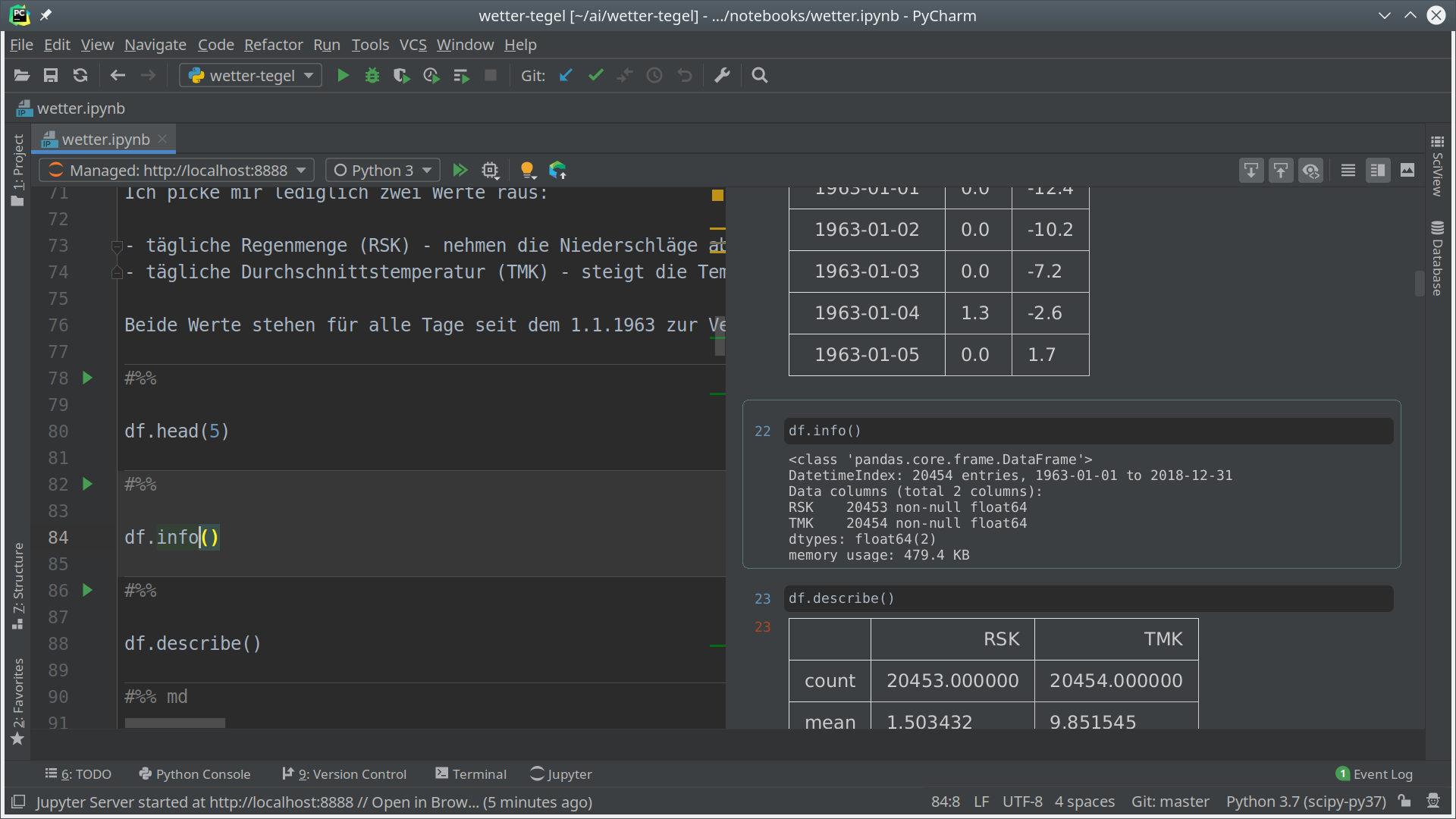 Bearbeitung von Jupyter Notebooks in PyCharm