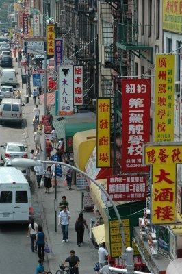 Blick auf eine Straße in China Town, New York
