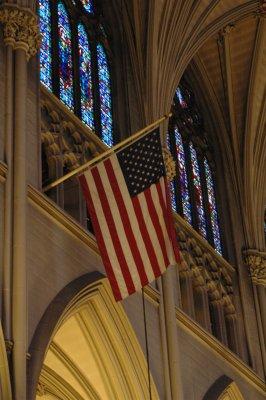 US Flagge in einer Kirche in New York