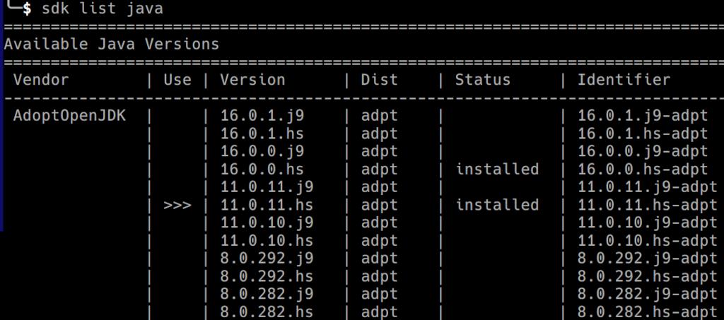 Ausgabe der aktuell von SDKMAN unterstützten AdoptOpenJDK Versionen und Varianten