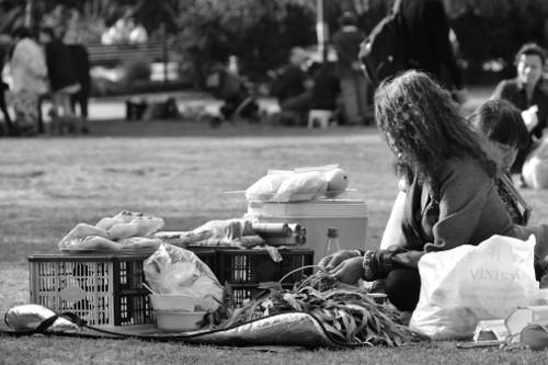 eine Frau bereitet Essen vor auf der Thaiwiese im Preußenpark in Berlin