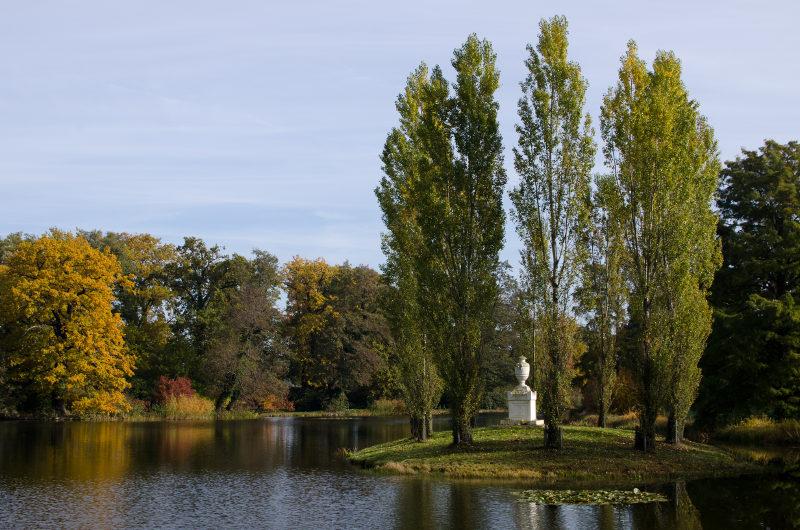 kleine Insel mit Urne in Wörlitzer Park